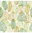 Seamless pattern of outline autumnal leaves vector image vector image