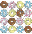 Seamless pattern with color donuts vector image