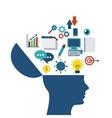 Internet media icon and human head design vector image