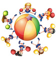 Cheerleaders around the beach ball vector image vector image