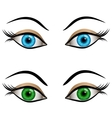 Blue and green female eyes vector image