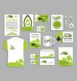 corporate identity set ecology company templates vector image