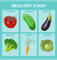 fresh vegetables concept healthy diet flat style vector image