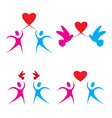 Set of love heart symbols vector image vector image