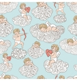Cute pattern with angels on clouds HAnd drawn vector image