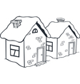 Small winter houses vector image