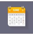 Calendar June Flat Design vector image