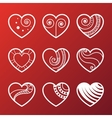 Set of White Heart Icons vector image