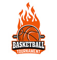 Basketball tournament emblem template vector image vector image