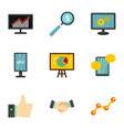 advertising elements icons set flat style vector image