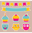 Birthday party stickers set vector image