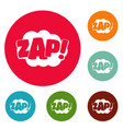 comic boom zap icons circle set vector image