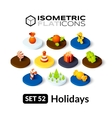 Isometric flat icons set 52 vector image