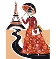 Fashion woman in Paris vector image