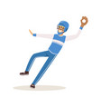 baseball player in a blue uniform pitching vector image