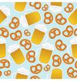 beer mugs and pretzels vector image