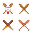 baseball bit icon set cartoon style vector image