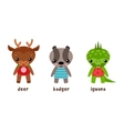 Cartoon iguana and deer badger animal vector image