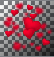 frame of falling small sparkling red hearts vector image