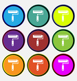 Paint roller icon sign Nine multi colored round vector image