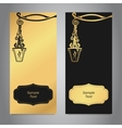 Two vertical banners black and gold with tag and vector image