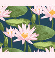 seamless pattern with water lily flowers vector image