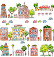 cute collection of vintage house with trees vector image