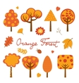 Orange forest colorful collection vector image