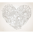 Vintage hand-drawn doodles heart background in vector image