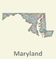 Maryland line art map vector image