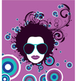 funky face with floral and grunge vector image