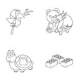 a toy propeller a teddy bear with a giraffe and a vector image
