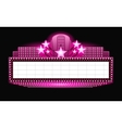 Brightly theater glowing pink retro cinema neon vector image