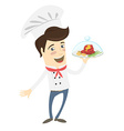 Funny chef serving meat dish vector image