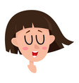 pretty dark brown hair woman laughing facial vector image