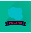Flat icon with long shadow map of Poland vector image