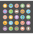 Modern flat office icons set with long shadow vector image