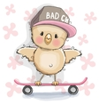 Chicken with skateboard vector image