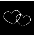 White hearts icon double grunge 2 vector image