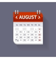 Calendar August Flat Design vector image