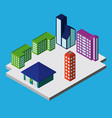 set of isometric city buildings vector image