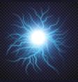 lightning flash light thunder spark on transparent vector image
