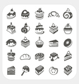 Cakes and dessert icons set vector image