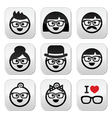 People wearing glasses geeks icons set vector image vector image