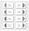 Grey set of ornamental floral business cards vector image