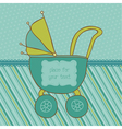 baby boy arrival card with photo frame and place f vector image vector image