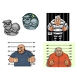 Cartoon thief robber gangster and prisoner vector image