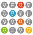 Different navigation pins set with rounded corners vector image