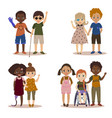 disabled children with friends vector image