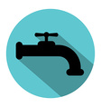Faucet silhouette with long shadow vector image